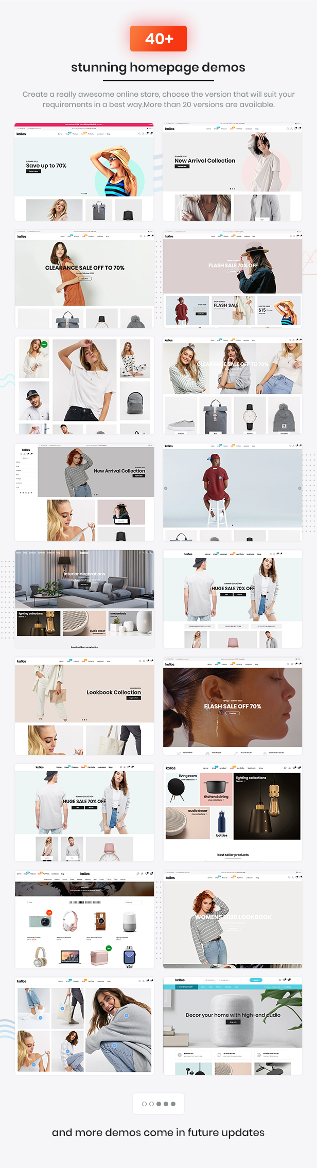 Kalles supported 20+ awesome demos, the best eCommerce HTML template